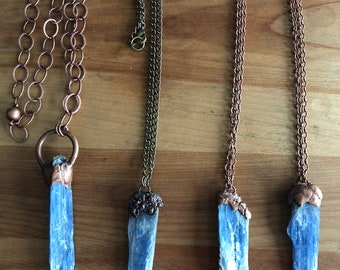 kyanite, necklaces, chakras, kyanite necklace