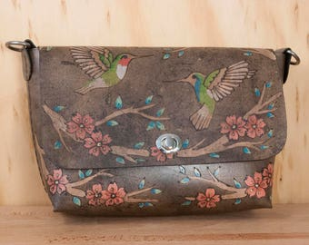 Hummingbird Purse - Handmade Leather Crossbody Bag with Cherry Blossoms - Guitar Strap Purse Strap - Pink and Antique Black