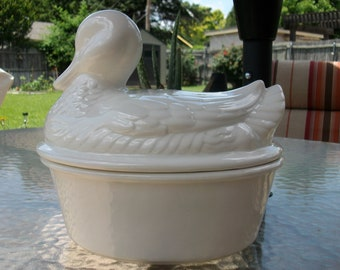 Vintage Handmade Pottery -  White Duck W/Lid Serving Dish 1980