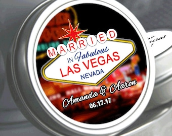 "24 Personalized Married in Las Vegas Mint Tins Unfilled   - Select the quantity you need below in the ""Pricing & Quantity"" option tab"