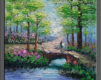 original painting,landscape painting,couple painting,palette knife painting by Enxu.Zhou-Huge 32''x32'',framed,ready to hang