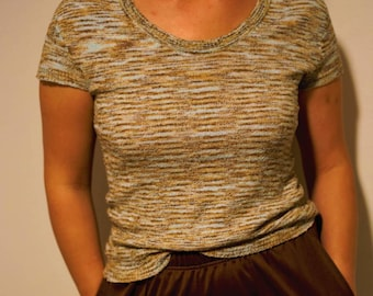 Vintage 70s hipster striped baby blue and brown crop sweater