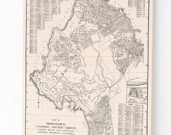 Wood Print Map, Monterey, Carmel, Pacific Grove, Pebble Beach, Asilomar California Art