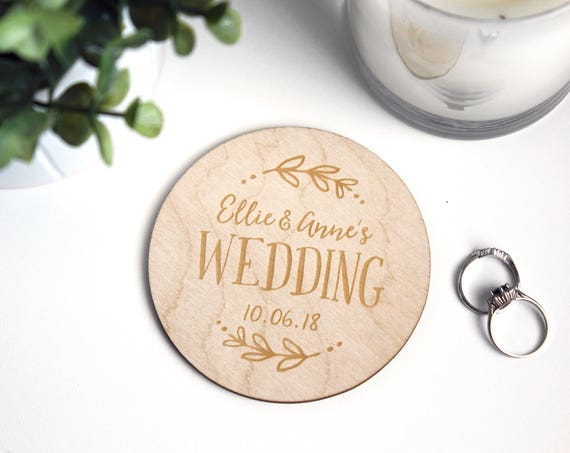 Wedding Wood Coasters! Don't forget the rings!