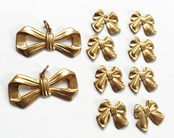 Brass Bow Charms Large and Small - Brass Stampings