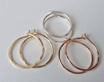 Small Hoop Earrings, Silver, Gold or Rose Gold Hoops, Tiny Hoop Earrings, Minimal Earrings, Everyday Earrings.