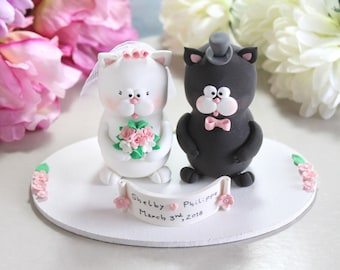 Unique Cat wedding cake toppers + oval base - bride groom figurines figures personalized funny cute black grey white pastel colors pink