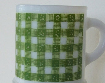 Vintage Milk Glass Mug Green Gingham Plaid