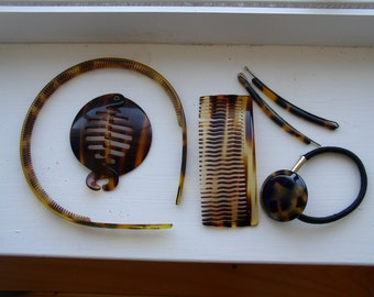 Collection of 6 Vintage Faux Tortoise Hair Items