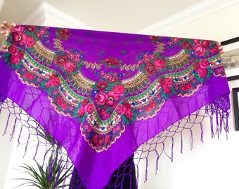 Vintage Style Shawl in Purple