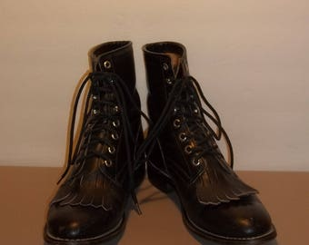 Vintage Boots Womens Boots Western Cowboy Boots Junior Justin Roper Boots Black Leather Lace Up Kiltie Tassel Girls Size 3 1/2 D T29 M7066