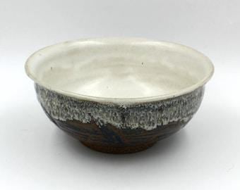 Ceramic Bowl - white, copper and blue