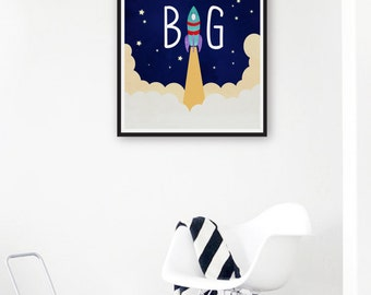 Dream big print etsy for Outer space poster design