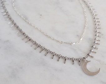 Silver Moon Layers, Choker Set, sterling silver choker, dangle choker, gypsetco, gypset jewelry, wedding jewelry, boho jewelry