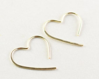 Gold Heart Hoops, Medium Heart Earrings, Bridesmaid. Valentine