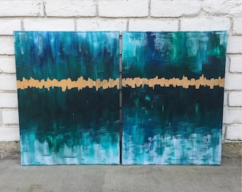 Rejoice / (2) 18x24 Original Abstract Acrylic and Gold Leaf Painting on Canvas / emerald / green and gold / ivory/ navy / gold foil / diptyc