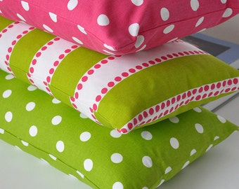 Polka Dot and Stripe Pillow Covers Choose Color and Size