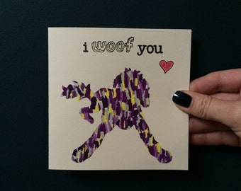 """Liberty London Golden Doodle (Design 1) """"I Woof You"""" silhouette handmade greeting card"""