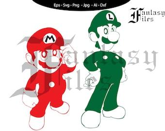 MARIO BROS. Mario and Luigi vector. svg/png/jpg/eps/ai/dxf. Instant DOWNLOAD