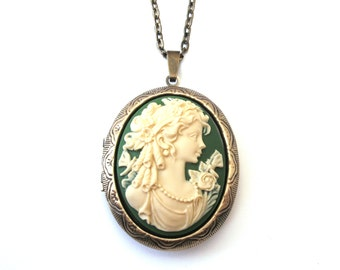Classical Maiden Cameo Locket, Green and Cream, Long Necklace, Victorian Cameo, Lady Cameo, Locket Necklace, Bronze or Gunmetal