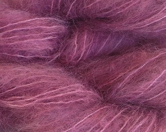 Hand Painted Mohair Yarn in Plum Pie Fingering Weight