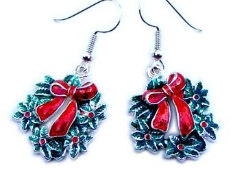 Christmas Wreath enamel on silver tone pierced earrings on Surgical Steel earwires