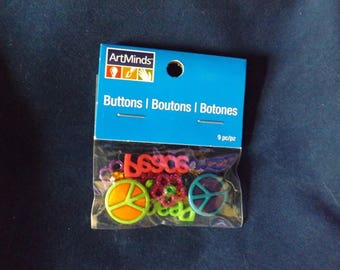 9PC Peace & Glitter Flowers Buttons and Embellishments - Art Minds