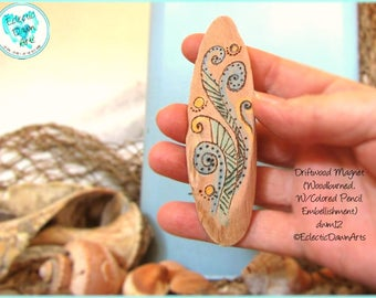 Abstract Wave Magnet, Driftwood Pyrogrpahy Magnet #DWM12