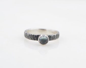 Sky Blue Topaz -  Stacking Ring  - Hammer Textured Band - Recycled Sterling Silver