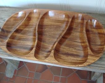 VTG Large Monkey Pod Wood Sustainable Eco Friendly Tray Bowl