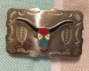 Longhorn Steer Western Belt Buckle - Boys - Nickel Silver