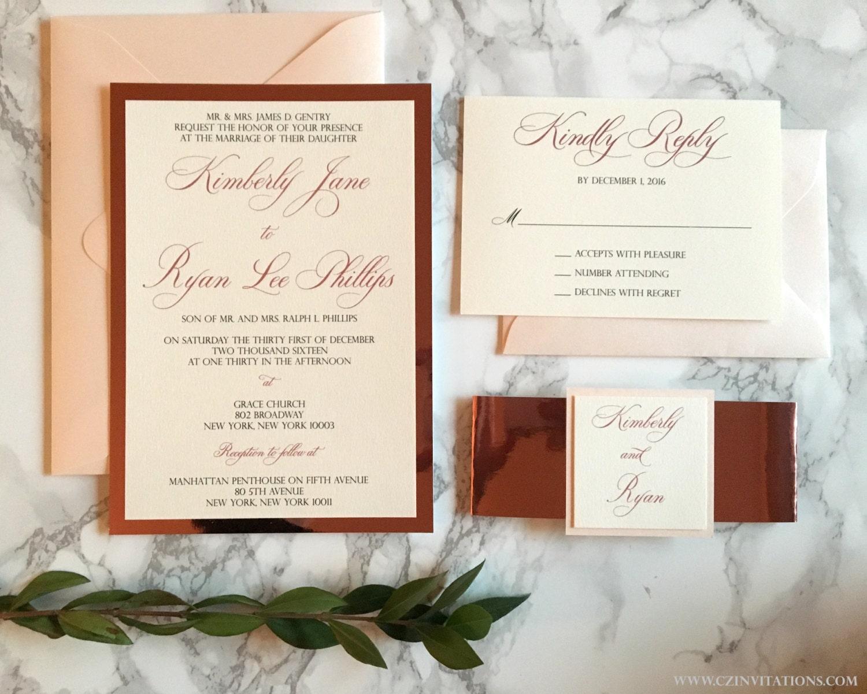 Rose Gold Mirrored Wedding Invitation Blush and Rose Gold