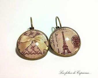 Earrings cabochon round EIFFEL• •DENTELLE