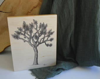 Joshua Tree Drawing on Wood Block - ready to hang 8x10 inch Art Print perfect for gallery wall