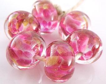 Tutti Frutti Encased SRA Lampwork Handmade Artisan Glass Donut/Round Beads Made to Order Set of 6 10x15mm