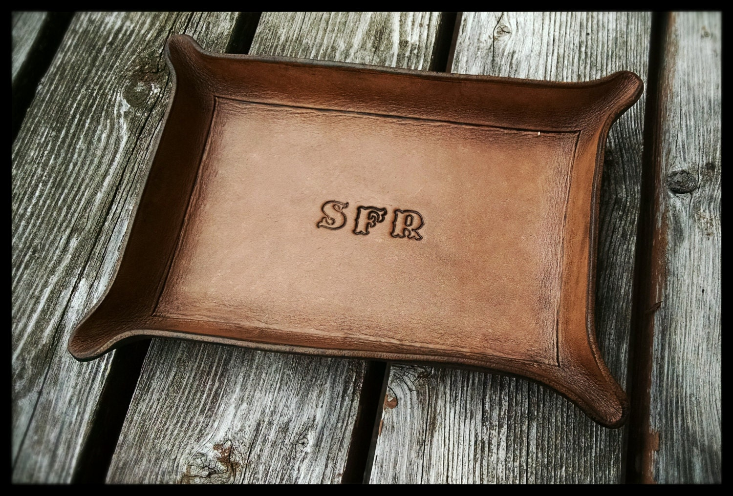 Personalized Leather Valet Tray For Dresser Or Desk