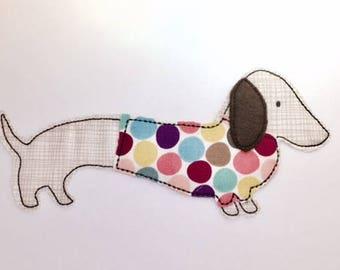 Dachshund Raw Edge Applique,  machine embroidery design. AKA doxie, weenie, dachsie and sausage dog by Pixie Willow Patterns