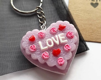 Purple resin love heart keyring