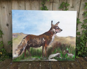 The Free  Yorkshire Fox ,original , fine art, acrylic, one only painting