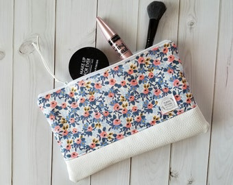 Blue Floral + Faux Leather Zipper Pouch - Make Up Pouch - Make Up Bag - Zipper Bag - Clutch - Rifle Paper Co - Gifts for Her - Les Fleurs