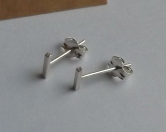 Small Silver bar stud earrings 5mm