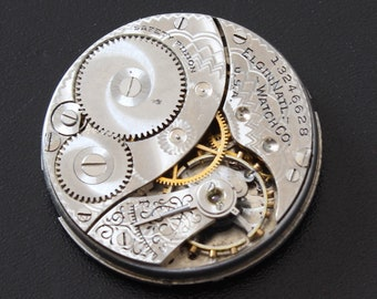 Beautifully Etched Antique Elgin Pocket Watch Movement for parts repair or jewelry making supply