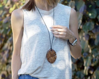 Boho wood pendant-long necklace, gift for her, chunky necklace, australian gift, nature jewelry, wooden necklace,wood pendant,rustic pendant