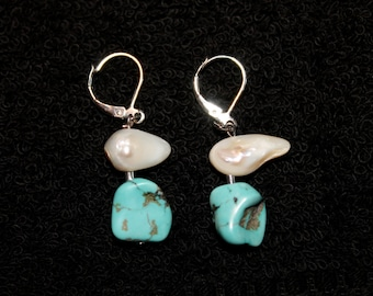 Turquoise and Freshwater Pearl  Silver-Plate Earrings