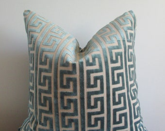 Nate Berkus Greek Key Pillow Cover // Akis Sea Velvet Pillow Cover 18x18, 20x20 Throw Pillow, Accent Pillow  16 22 24 26 Euro