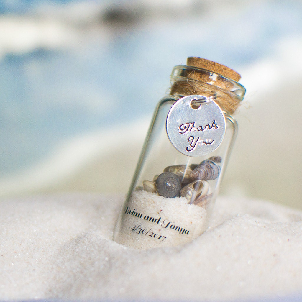 10 Beach Favours with Magnets Wedding Personalized Sand and