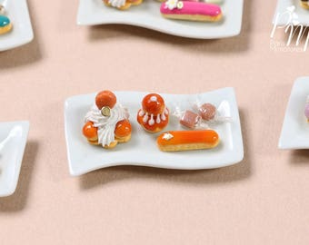 Classic French Pastries/Desserts on Plate - St Honoré, Religieuse, Eclair - Caramel Selection - Miniature Food for Dollhouse 12th scale