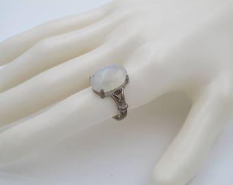 rainbow moonstone ring - natural gemstone ring - statement ring - natural stone jewelry - rainbow moonstone jewelry - size US7