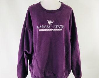 Vintage 80s Kansas State Wildcats Purple Embroidered Sweatshirt Size XXL USA