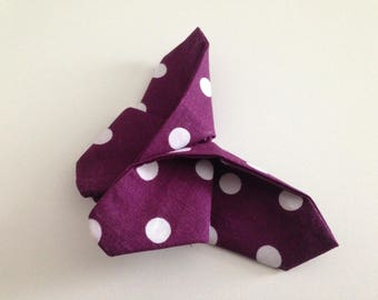Purple origami Butterfly large white polka dots